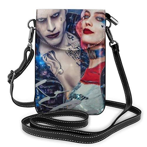 Harley Quinn Clown Girl und The Joker Phone Purse Damen Crossbody Handtaschen Leichte Taschen Damen Geldbörse Leder Handy Holster Geldbörse Etui Umhängetaschen Abnehmbarer Schultergurt Mode