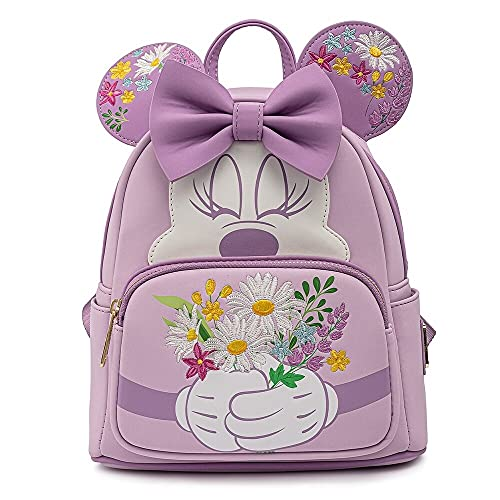 Loungefly Disney Minnie Mouse Holding Flowers Womens Double Strap Shoulder Bag Purse