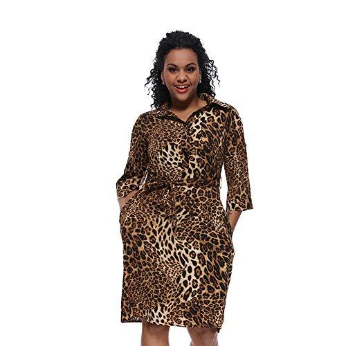 Womens gedruckt Langarm Button-Down-Krawatte Taille Shirt Kleid lässig V-Ausschnitt Lange Bluse Kleider mit Gürtel