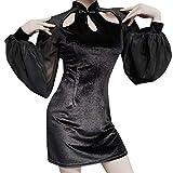 Gothic Kleid Damen Mittelalter Kostüm Vintage Steampunk Kleid Cocktailkleid Lolita Kleid Piebo Frauen Langarmshirt Gotische Kleidung Vintage Dress Party Kleid Weihnachten Erwachsene Cosplay