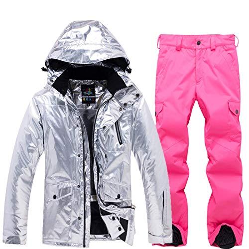 DRT kostuum Ski dames snowboard zilveren jas bling-bling winddicht waterdicht sneeuw en broek voor regen, sneeuw en wandelen