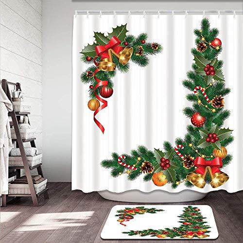 Juego de cortinas de ducha antideslizantes para baño,Noel Adornos abeto temático con adornos Impresión del concepto de año nuevo clás Alfombrilla de baño y cortina de ducha Impermeable(180x180cm)