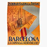 Arcticcool Retro Familia Travel Barcelona Spanish Affiche