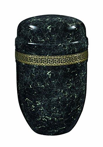 Urns UK 18.2 x 18.2 x 27.6 cm Acero Purley Mármol con Banda Adultos Urna Crematoria para Cenizas Metal urna, Negro/Blanco