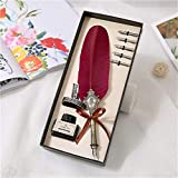 Feather Pen Pluma de la tinta del estudiante de europeísmo Conjunto retro Quill metal Pluma de la caligrafía pluma del arte la mano del regalo de la pluma de 6 colores (verde) para regalo o uso propio