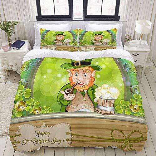 Funda nórdica, duendes de duende de dibujos animados del día de San Patricio en arco iris contra el trébol verde Primavera día de la suerte de Irlanda, juego de cama Cómodo y liviano y lujoso conjunto