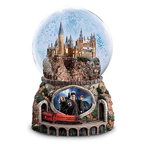 The Bradford Exchange Harry Potter Musical Glitter Globe with Rotating Train and Movie Image Lights...