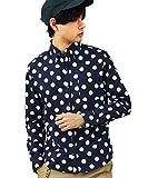 (エイト) 8(eight) 4color 国産 ドットシャツ 水玉 長袖シャツ コットン 日本製 ネイビーB M