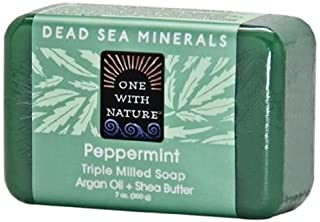One With Nature Peppermint Dead Sea Mineral Soap, 7 Ounce Bar