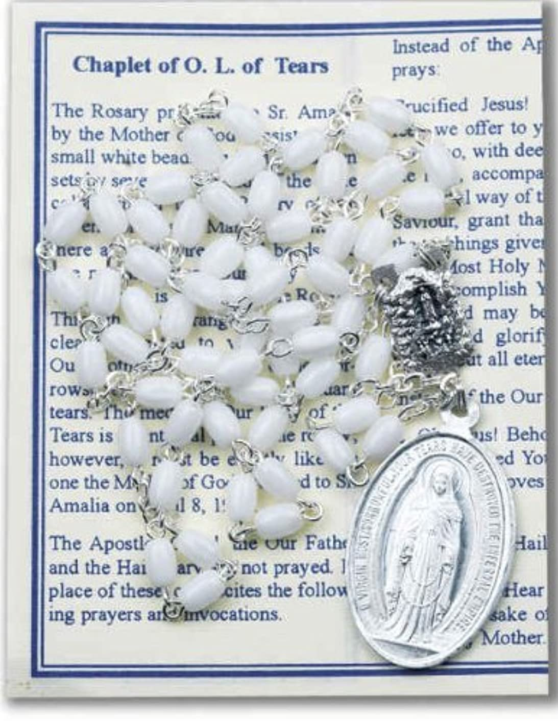 "Our Lady of Tears Deluxe Chaplet with White Oval Beads Packaged with a Laminated Holy Card & Instruction Pamphlet (Overall 6.5"" X 3.5"")"