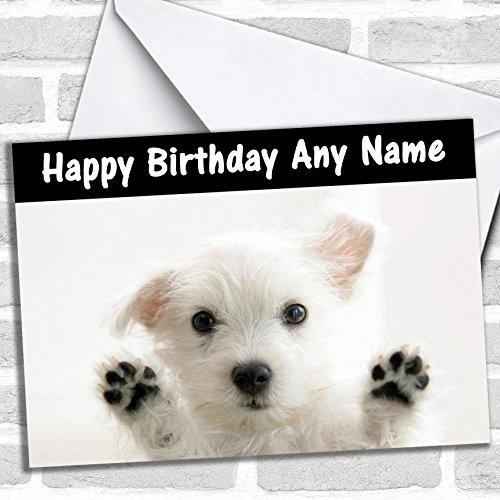 Witte Terrier hond grappige verjaardagskaart met envelop, kan volledig worden gepersonaliseerd, snel en gratis verzonden