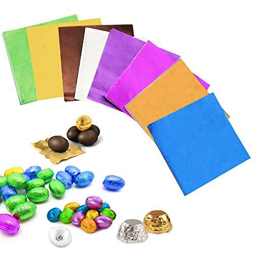 BUZIFU 800* Carta per Cioccolatini San Valentino Fogli Carta Stagnola Quadrata per Imballaggio Cioccolatini Quadrati Dolci Caramelle Cioccolatini 3.15'x3.15' (8 Colori)