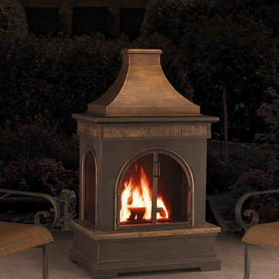 Cheap Sunjoy Hardy 58 Slate And Steel Outdoor Fireplace To Keep The Chill of Winter At Bay