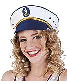 Boland 81025 - Mütze Kapitän Jody für Erwachsene, weiß/blau, Größe 57-61, Marine, Matrose, Seefahrer, Seemann, Kopfbedeckung, Accessoire, Motto Party, Karneval