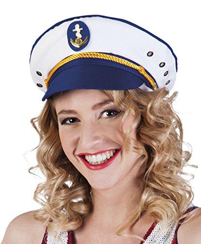 Boland 81025 - Mütze Kapitän Jody für Erwachsene, weiß/blau, Größe 57-61,...