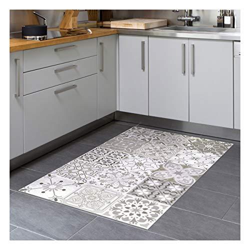 Bodenmatte aus Vinyl, PVC, rutschfest, Bodenschutz – Zementfliesen – Handwaschbar – Dicke 2,2 mm – 60 cm x 100 cm – Farbton de Gris