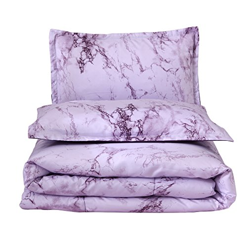 Marble Comforter Sets Queen Purple Printed 3pcs Bed Set Lightweight Microfiber Bedding Quilt for Adults
