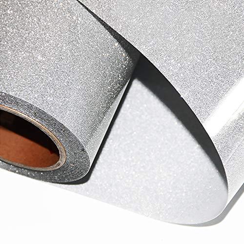 ARHIKY Glitter Heat Transfer Vinyl HTV for T-Shirts 10Inches by 5 Feet Rolls(Silver)