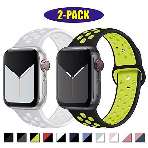 INZAKI Compatibile con Cinturino Apple Watch 42mm 44mm,Cinturino di Ricambio Sportivo in Silicone Traspirante per iWatch Serie 5/4/3/2/1,Nike+,Sport,Impermeabile,S/M,BlackVolt/SilverWhite