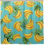 Tropische Palmblätter & Bananen Duschvorhang Wasserdichtes Polyestergewebe Bad Curtian Badezimmer Dekor