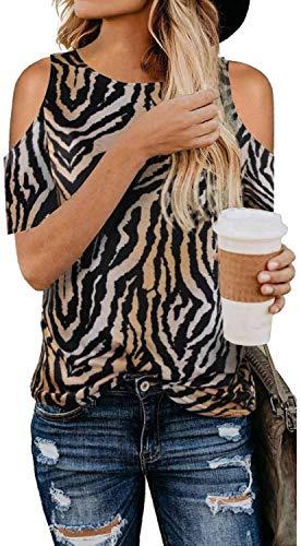 Damen T-Shirts Bluse Farbblock Pullover Kalte Schulter Shirts Leoparden Oberteile Tunika Kurzarm Tshirt Rundhals Tops Zd-Zebra M