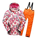 Lvguang Chaqueta con Capucha de Esquí Gruesos Impermeables de Invierno & Pantalones Gruesos para Niñas y Niños (Naranja#8, Asia S)