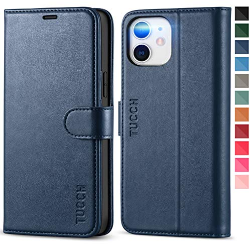 TUCCH Wallet Case for iPhone 12 Pro/iPhone 12 5G, [TPU Shockproof Inner Shell], PU Leather RFID Blocking Card Holder Magnetic Stand Cover Compatible with iPhone 12/12 Pro 6.1-inch, Dark Blue