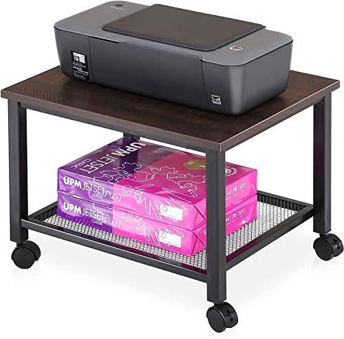 FITUEYES Soporte para Impresora con Ruedas 2 baldas de Carrito para Impresora Color marrón...