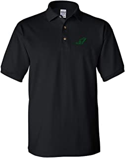 Custom Polo Shirt Large Winged Shoe Outline Embroidery Design Cotton Golf Shirt