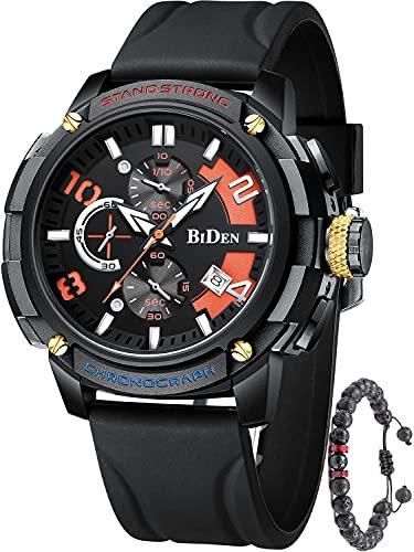 Montre chronographe pour homme avec bracelet en silicone, chronomètre, étanche, lumineuse, date, calendrier, analogique, à quartz noir/rouge