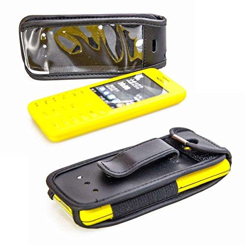 caseroxx Hülle Ledertasche mit Gürtelclip für Nokia 206 aus Echtleder, Tasche mit Gürtelclip & Sichtfenster in schwarz
