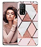 Compatible with Xiaomi Mi 10T Pro 5G Case Clear Phone Case Slim Silicone Transparent TPU Red Purple Flower Glitter Marble Rugged Protective Cover Cases for Mi 10T Pro 6.67'' 2020 Mobile Phone