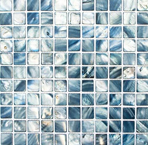 mozaïek parelmoer zilver blauw tegelspiegel keukenwand douchewand MOS150-SM2582_f