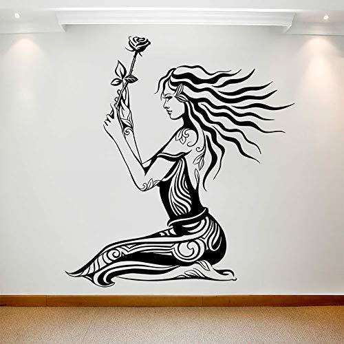 JXAA Mädchen mit Rose Wandtattoo Kunst langes Haar Frau Vinyl Fenster Aufkleber Schönheitssalon Mädchen Schlafzimmer Wohnkultur Tapete 42x45cm