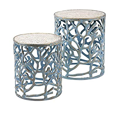 IMAX Coral Mother of Pearl Tables, Set of 2
