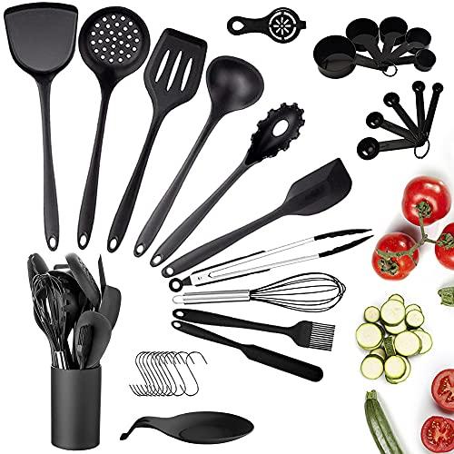 Juego de utensilios de cocina de silicona, 33 piezas de utensilios de cocina con soporte, antiadherentes, resistentes al calor, mango de silicona, cucharas, espátula, batidor, pinzas, utensilios de cocina (negro)
