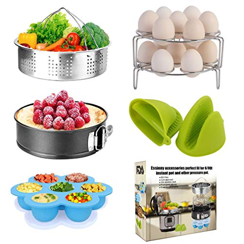 Pressure Cooker Accessories Set with Springform Pan, Vegetable Steamer Basket, Egg Rack, Egg Bites Mold, Silicone Cooking Mitts Compatible with Instant Pot 6/8 Qt