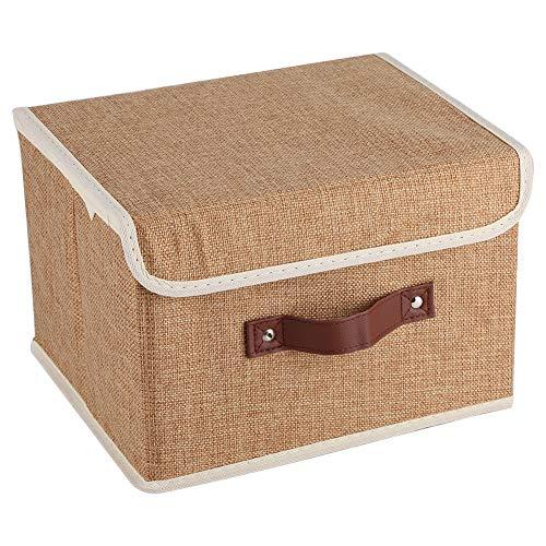 Agatige Stoffvorratsbehälter, große Vorratsbehälter Zusammenklappbarer Aufbewahrungskorb mit Deckel für Schrankregale Organizer(Kaffee)