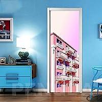 ZWYCEX ドアステッカー リビングルームのドアステッカーのための3D改修ステッカー自己接着ビルシービューピクチャーホームデコレーション防水版画 (Sticker Size : 77x200cm)