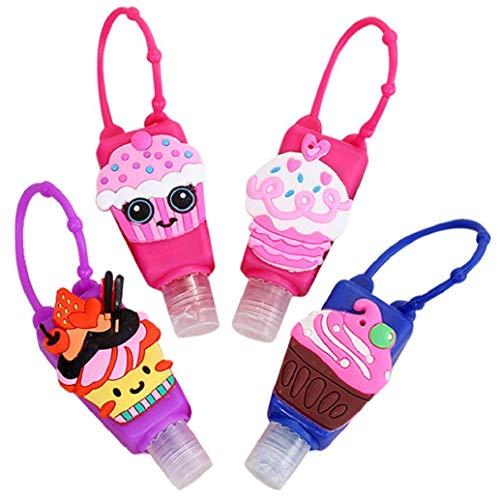 heekpek Tragbare Silikon Reiseflaschen Set Auslaufsichere Nachfüllbare Leere Reiseflaschen 4 Stück 30ml Für Kinder Reiseflaschen für Shampoo, Spülung, Lotion (Eiscreme)