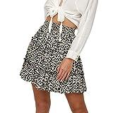 Faldas Cortas Volantes Kawaii, Falda Corta de Playa con Estampado Floral con Volantes en la Cintura Alta de Bohe de Verano de Mujer Encaje Elastica cosplat Skirt