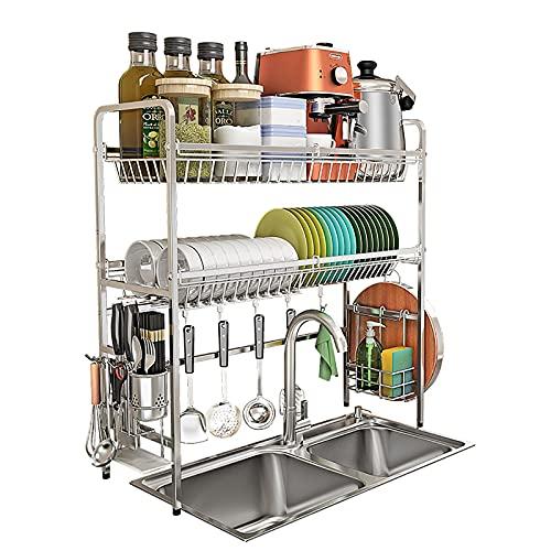 Rejilla para escurridor de platos de acero inoxidable sobre fregadero, rejilla para secar platos de 1/2 nivel con ganchos para soporte de utensilios, para organizador de encimera de cocina,2 tier,83cm