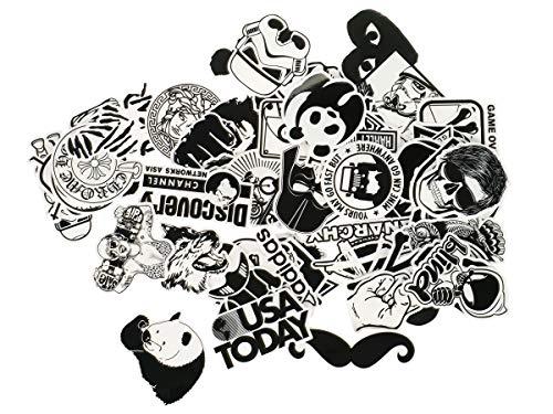 Vinyl Sticker Schwarz Weiß I B&W PVC Aufkleber I Diverse Comic, Brands, etc. Motive I Menge: 60 Stück