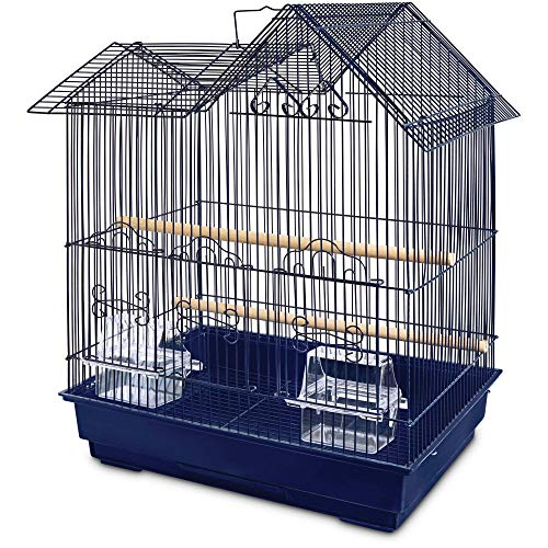 You & Me Parakeet Ranch House Cage, Navy, 16.5 in, Blue