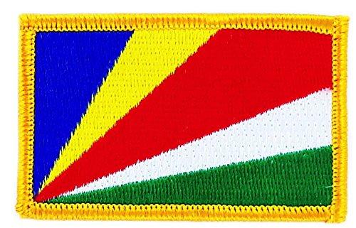 Aufnäher Patch bestickt, Seychellen-Fahne flag BW Wappen zum Aufbügeln