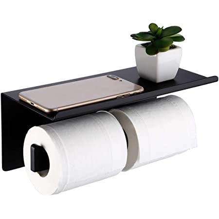 Amazon Brand - Umi Porte Papier Toilette Double Noir Avec Étagère Murale Support Mural Salle de Bain Accessoire 304 en Acier Inoxydable Noir Mat, BPH216S2DG-BK