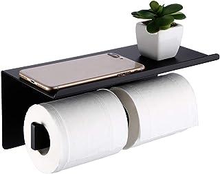 Amazon Brand - Umi Porte Papier Toilette Double Noir Avec Étagère Murale Support Mural Salle de Bain Accessoire 304 en Aci...