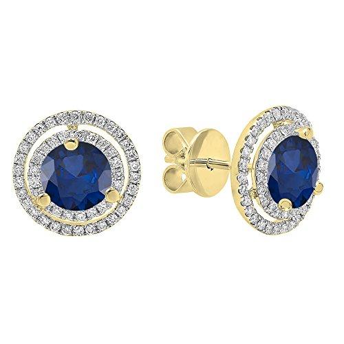 DazzlingRock Collection 18k oro amarillo 6MM cada piedra preciosa y diamante mujer doble halo stud pendientes Zafiro Azul