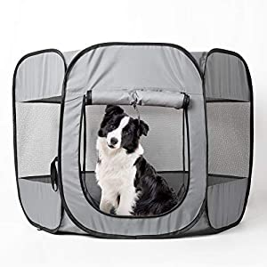 Love's cabin Pet Puppy Playpen Water Resistant, Exercise Dog Pen Indoor and Outdoor, Portable Cat Dog Playpen for Medium Dogs, Foldable Dog Kennel Playpen with Removable Shade Cover 42in Grey