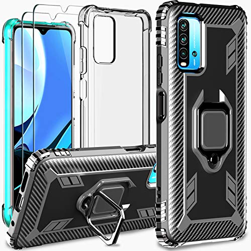 Milomdoi [4 unità] 2 Cover +2 Pezzi Pellicola Protettiva Vetro Temperato per Xiaomi Redmi 9T,[2 Styles Case] 360 Girevole Regolabile Ring Armor Bumper TPU Case Supporto Cellulare Silicone-Nero